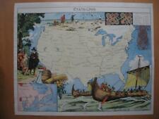 1948 - PINCHON - Illustrated historical map USA