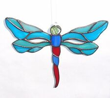 Suncatcher Stained Glass Dragonfly Home decor Gift Glass art Tiffany style Blue