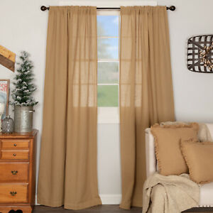 "VHC Brands Farmhouse 84""x40"" Panel Pair Tan Rod Pocket Burlap Window Curtains"