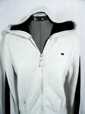 AEROPOSTALE Hoodie Jacket M White Blue Fleece lined Full zip up Sweatshirt