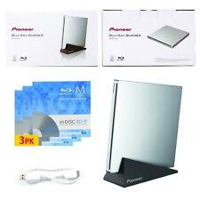 Pioneer BDR-XU03 6X Slim Slot Portable DVD External Burner Drive+3pk Mdisc BD