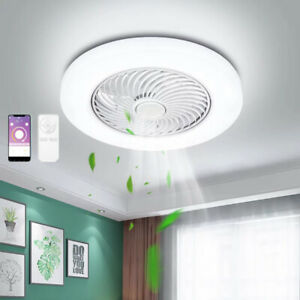 55cm Smart Ceiling Fan with 3 Colors LED Light Invisible Fan App Remote Control