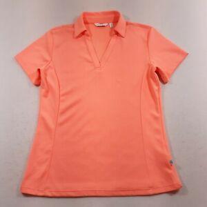 Lady Hagen Golf Polo Shirt Essentials Womens Size XS Bright Coral Orange V-Neck