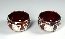 American Belleek Lenox China Porcelain GORGEOUS SILVER Overlay Brown Open Salts