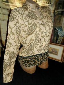 12 Silk Blouse Victoria Jacobean Leopard Cheetah Long Sleeve MOP Button NOS
