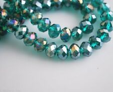 200Ps Peacock Green AB Crystal Glass Faceted Rondelle Bead 4mm Spacer Findings