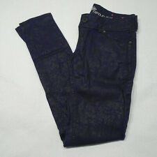 Almost Famous Women's Junior Size 5 Coated Blue Black Skinny Stretch Jeans