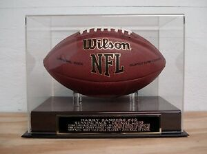 Barry Sanders Football Display Case With A Detroit Lions Nameplate