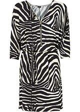 Kleid Zebra Gr. 32 34 36 schwaz weiß Fledermausärmel Minikleid Zipper