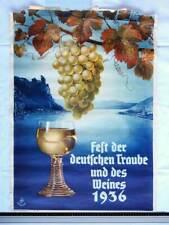Plakat FEST der DEUTSCHEN TRAUBE und des Weines 1936 Original Schiffers Reklame