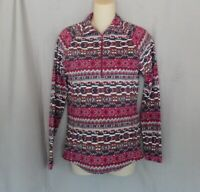 Woolrich sweater fleece  1/2 zip Small purple Fair Isle  long raglan sleeve