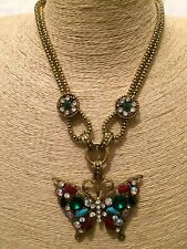 Statement Chunky Long Big Large Gold Crystal Butterfly Chain Pendant Necklace