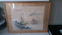 VINTAGE JAPANESE / CHINESE FRAMED GLAZED SILK PICTURE / PRINT - MOUNTAIN SCENE