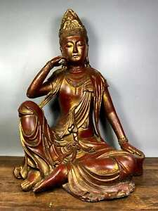 Old Tibet Buddhism Copper Bronze Free Goddess GuanYin Kwan-yin Buddha Statue