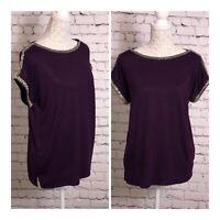 Oasis Burgundy Embellished Sleeveless Tunic Top Size S Evening Wear