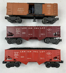 Lot Of 3 Vintage Lionel 159000 Central Box Car 25000 Lehigh Valley 2 Hopper Car