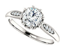 8 Prong Flower Semi Mount Setting 14k White Gold Engagement Ring Round Diamonds