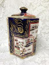 Antique, Masons, England, Variant Gaudy Blue Willow, 6in x 4in Tea Jar or Caddy