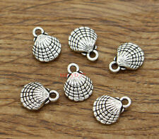 30 Shell Charms Beach Ocean 3D Seashell 2 Sided Charm Antique Silver 10x13 2075