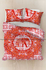 Indian Orange Mandala Doona Duvet Cover Bohemian Cotton Quilt Cover Bedding Set