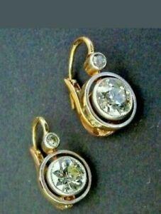 4.00 Ct Round Diamond Bezel Set Halo Drop/Dangle Earring 14K Yellow Gold Finish