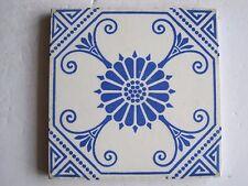 ANTIQUE VICTORIAN MINTONS TILE -  No.1775 BLUE ON WHITE AESTHETIC DESIGN c1900