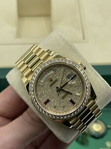 Rolex Daydate 228348RBR 40mm Factory Pave Diamond dial Box and Papers 2016