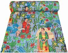 Indian Handmade Kantha Quilt Bedspread Reversible Blanket Cotton Floral Print