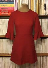 TOPSHOP brick red mini dress frill sleeves UK 6-8 US2-4 1970s fit flare A-line