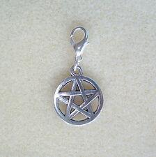 Tibetan Silver Pentagram Clip-On Charm ~ Wicca Pagan Witch Goth