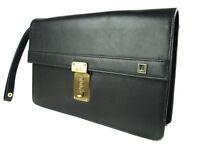 Authentic DUNHILL Black Leather Clutch bag DC1682L