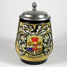 Vintage King German Pewter Lidded Beer Stein Kobenhauen Copenhagen w/ Pineapple