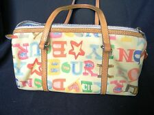 Dooney & Bourke Doodle Multi-Color on Cream Background Barrel Purse