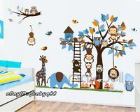 Owls Tree branch elephant Giraffe Wall Stickers Kids Nursery Decal Boys Bird Art