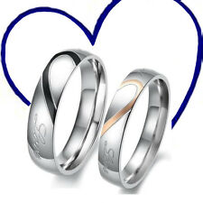 Valentine's Day Love Heart Stainless Steel Couples Engagement Wedding Band Rings