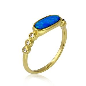14K YELLOW GOLD OVER 925 STERLING SILVER OPAL RING W/ LAB DIAMONDS / SZ 5 TO 9