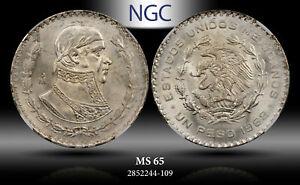 1962-MO MEXICO 1 PESO NGC MS 65 SILVER