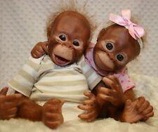 Reborn Bindi & Binki Monkeys Painted & Rooted with Eyes 3825 3826