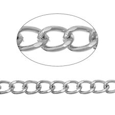 9mm Silver tone Findings Curb Link opened Cable Chains Jewelry making 3.28ft