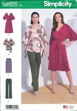 SIMPLICITY SEWING PATTERN 8925 MISSES 4-26 KNIT WRAP DRESS OR TOP, PANTS & SKIRT