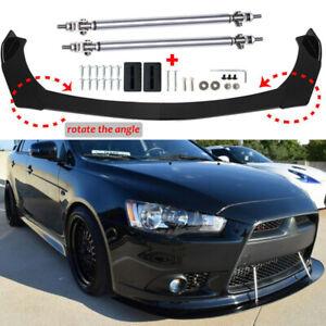 Carbon Fiber Front Bumper Lip Spoiler Splitter + Strut Rod For Mitsubishi Lancer