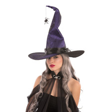 CAPPELLO STREGA VIOLA IN TESSUTO MODELLABILE CON RAGNI PER COSTUME HALLOWEEN 040e8c62be28