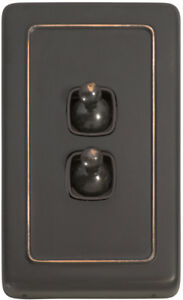 2 Gang Antique Copper Vintage Style Toggle Light Switch - Brown Insert 5913