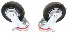 "3"" (75mm) Rubber Swivel Castor Wheels Trolley Furniture Casters (2 Pack) RM007"