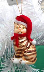 Noble Gems Glass Christmas Tree Decoration - BROWN STRIPED TABBY CAT SANTA HAT