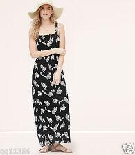 NWT ANN TAYLOR LOFT Summer Leaves Maxi Dress BLACK 371700 SIZE XS