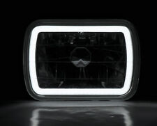 "7x6"" H4 Clear CCFL Halo Glass Projector Headlight Conversion w/ Bulbs Pair Plym"