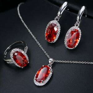 Oval Shine Red Kunzite Jewelry Sets White Gold Plated Necklaces Earrings Ring