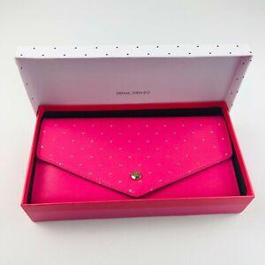 Large kikki K Pink Black Leather Travel Wallet Clutch Passport Holder Gold Metal