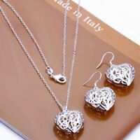 Womens 925 Sterling Silver Filled Filigree Heart Pendant Necklace Earrings Set